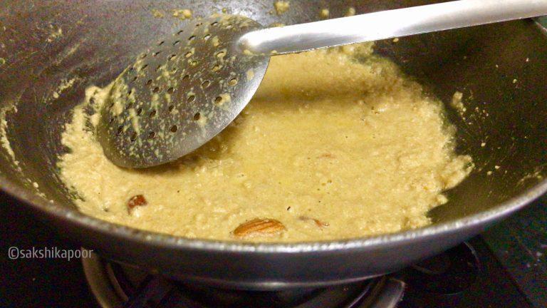 Roasting aata for kadha prashad