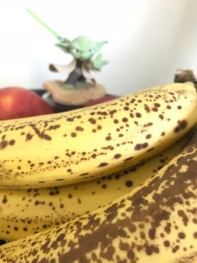 Ripe banana peanut butter mug cake for May the fourth, Star wars day