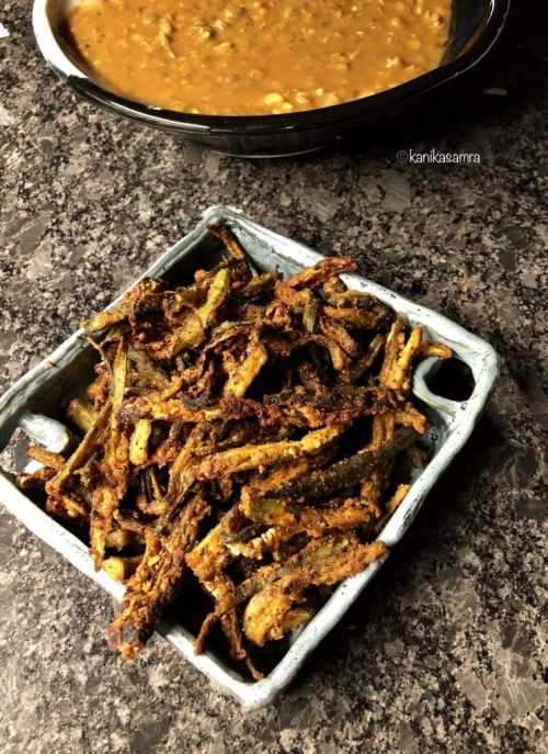 Crisp Okra made with chikpea flour and indian spices