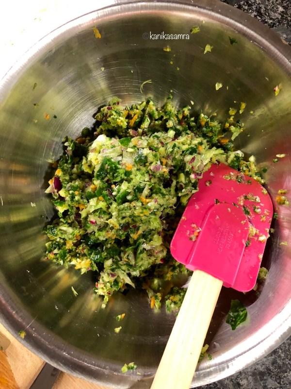 Mix of shredded vegetables.