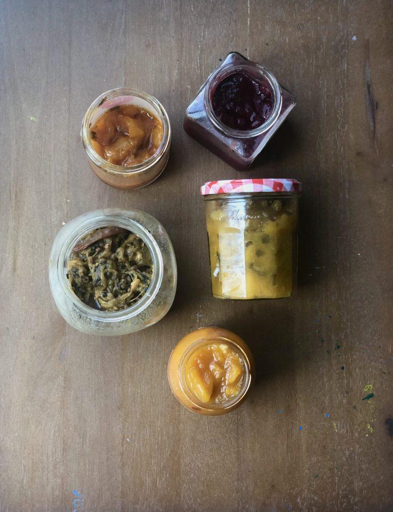 Jam made with mango, basil and lime.