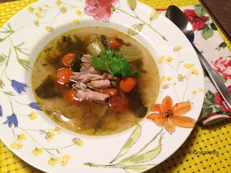 Chicken Soup with clear broth and vegetables
