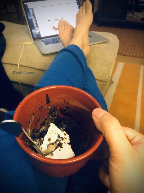 Chocolate Mug Cake with Ice Cream