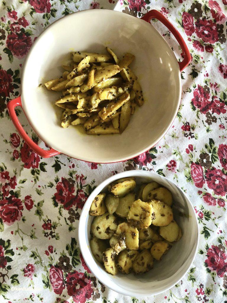 Arbi ki Sabzi two ways using the Instant Pot