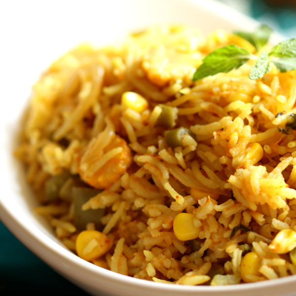 A close view of the sweet corn pulao