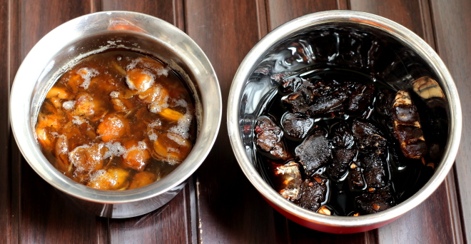 Dates and tamarind are soaking in separate containers for the chutney