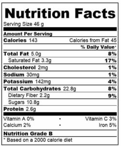 Oat Banana Cookies nutritional information