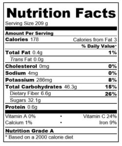 cranberry and apple hot smoothie nutritional information