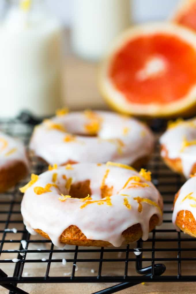 Healthier Grapefruit Doughnuts - made with whole wheat flour, coconut oil and greek yogurt. Baked rather than fried. Wonderful for breakfast!