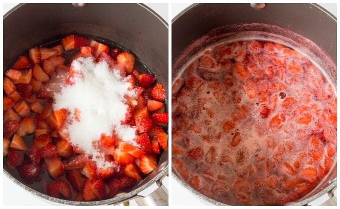 Strawberry Sauce prep collage