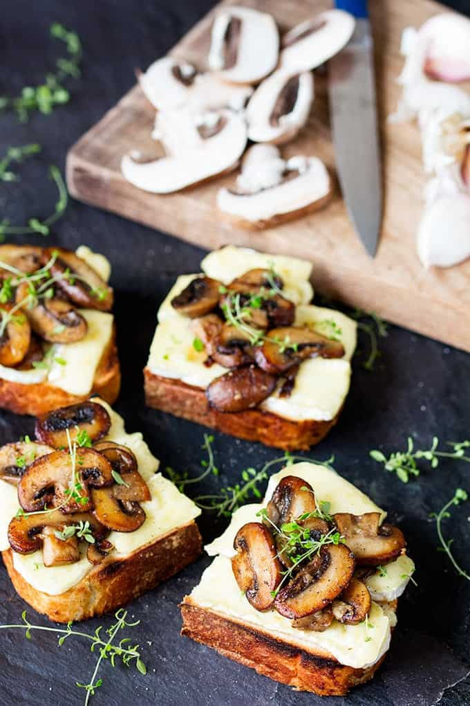 Garlic Mushroom and Brie Toast - a quick but delicious lunch!
