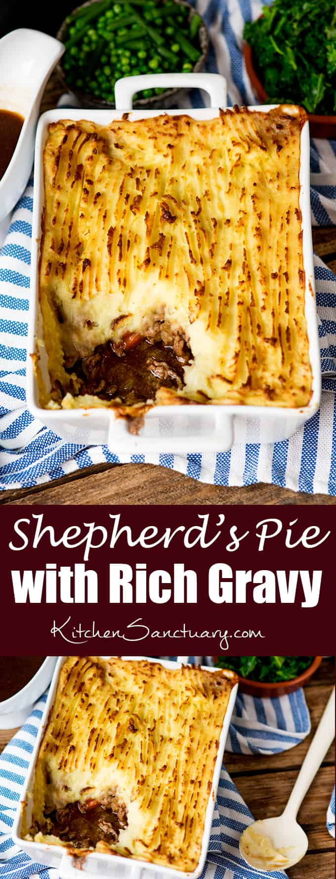 Shepherd's pie with creamy mashed potato and rich gravy - just like your mum used to make!