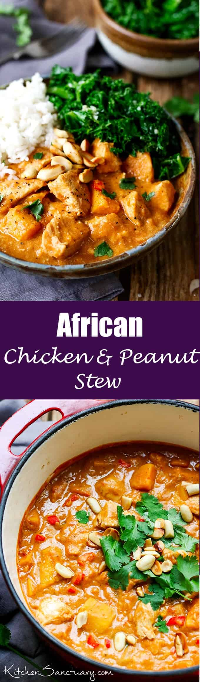 A slightly spicy, chicken and peanut stew that can be eaten on its own, or with rice.