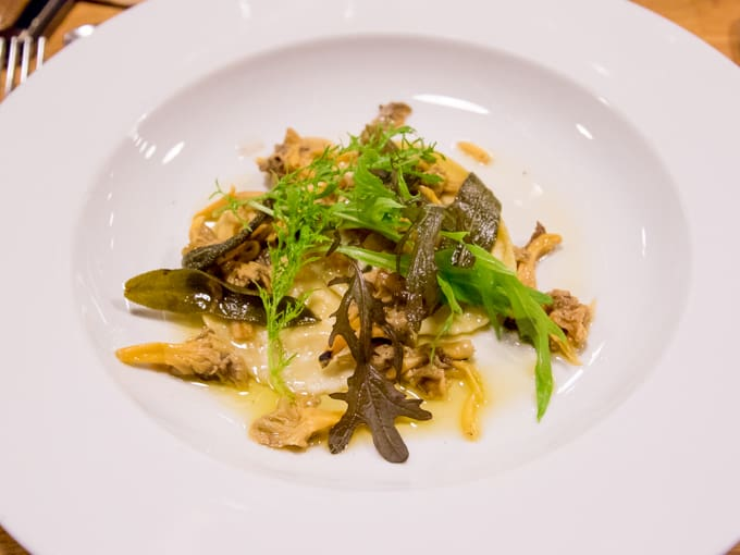 Celerian Ravioli with fried sage and wild mushrooms