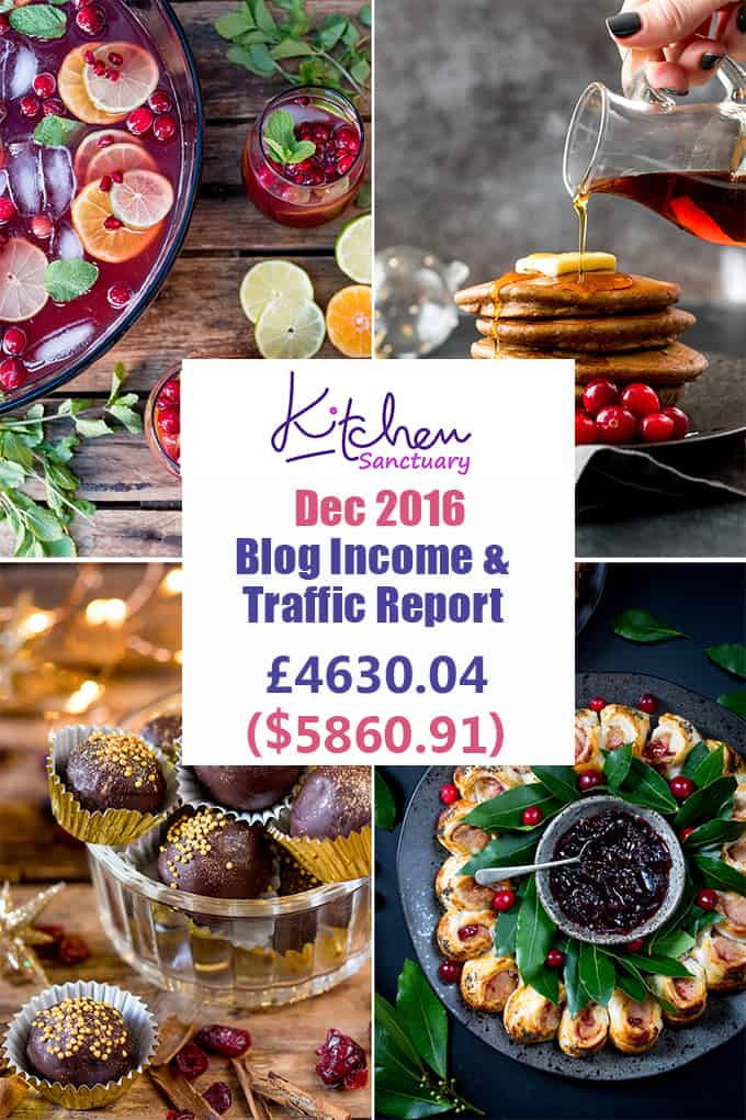 Interested in knowing some of the behind the scenes stuff for Kitchen Sanctuary? Here's the latest in my December blog income and traffic report.