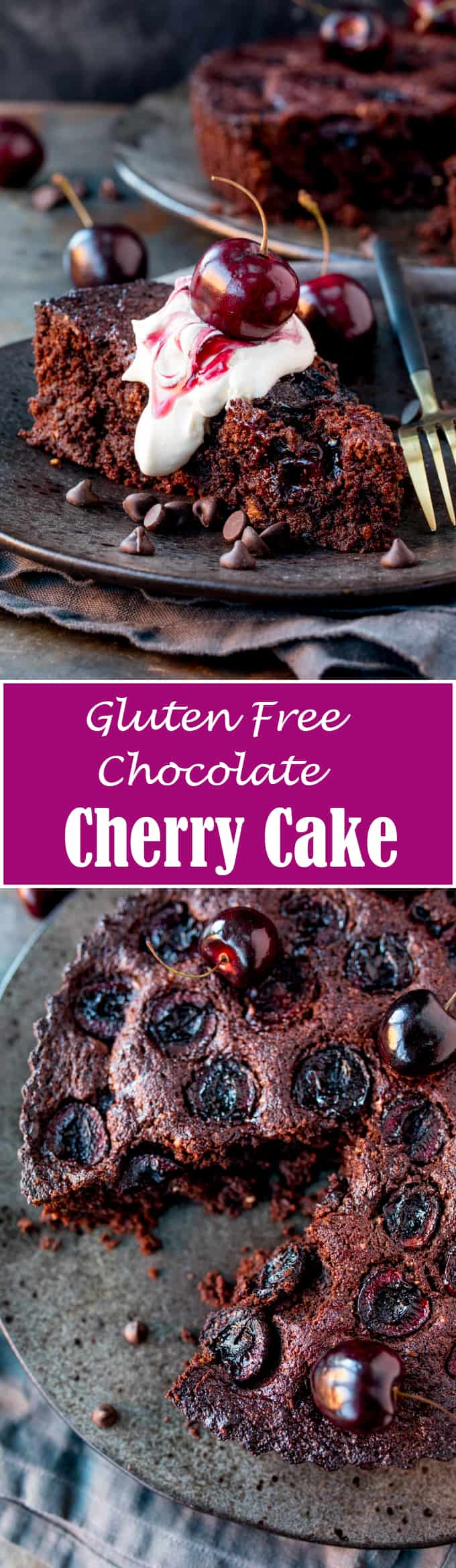 If you're looking for a chocolatey, rich dessert this Flourless Chocolate Cherry Cake is for you. It's simple to make and gluten free too!