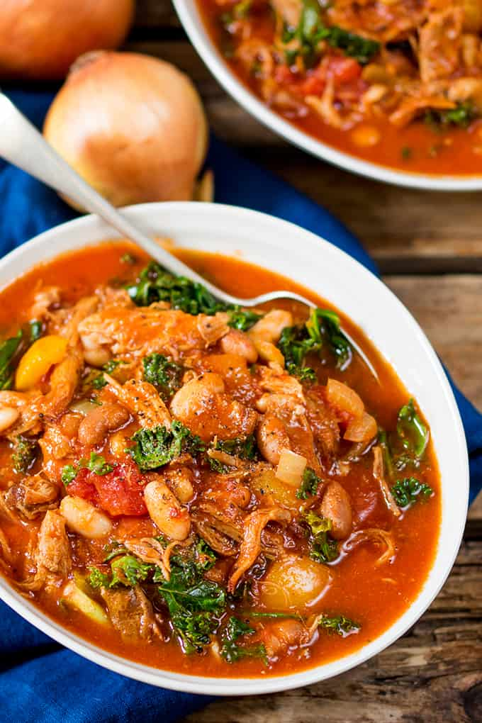 This slow-cooked pulled pork and bean soup makes a hearty and nutritious dinner. Gluten free too! It's freezable, so make a large batch!