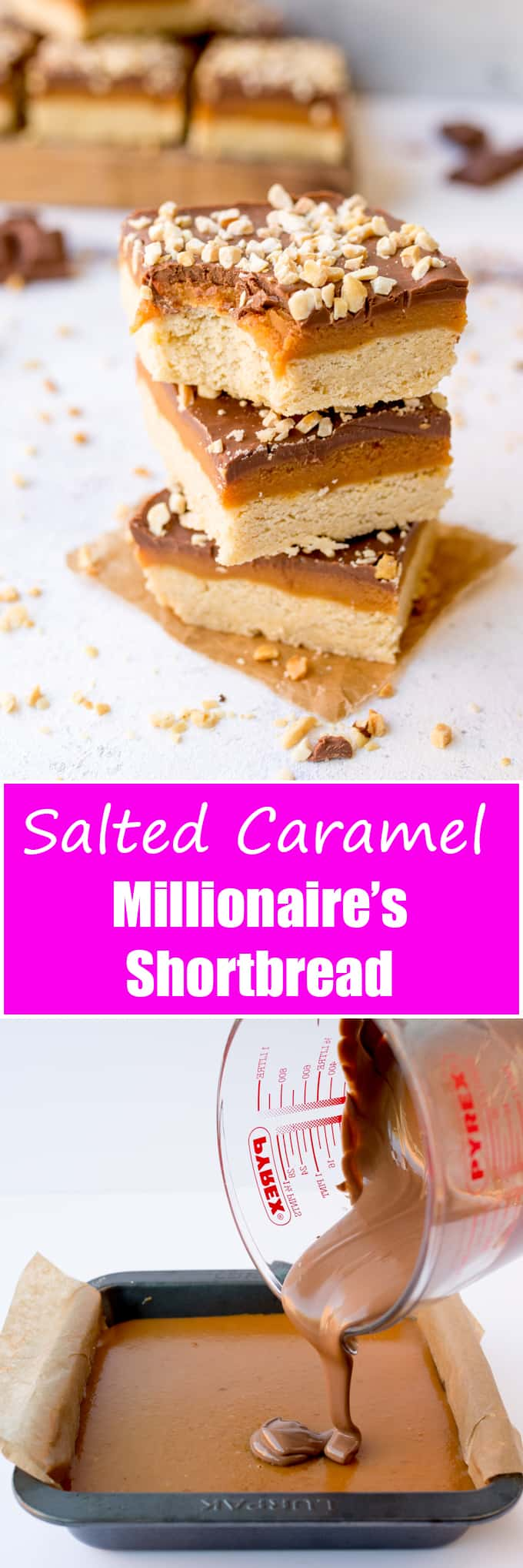 This Salted Caramel Millionaires Shortbread topped with roasted hazelnuts is a real treat – perfect for picnics!