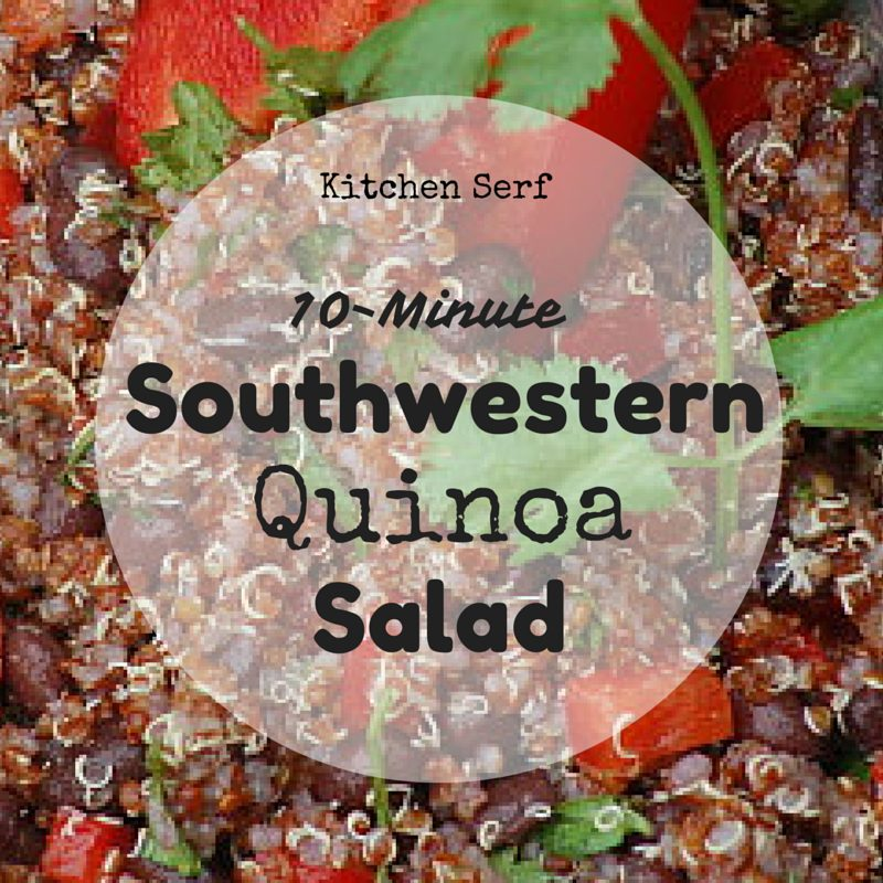 10 Minute Southwestern Quinoa Salad is a perfect main dish for summer. No need to turn on an oven, the quinoa cooks on the stovetop in just a few minutes and it has all the great flavors, cumin and cilantro.