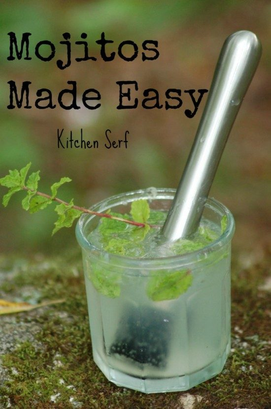 Mojitos are made easy with the right tools, like this stainless steel muddler and fresh ingredients, like rum, mint and a quality rum, plus the right ice cubes.