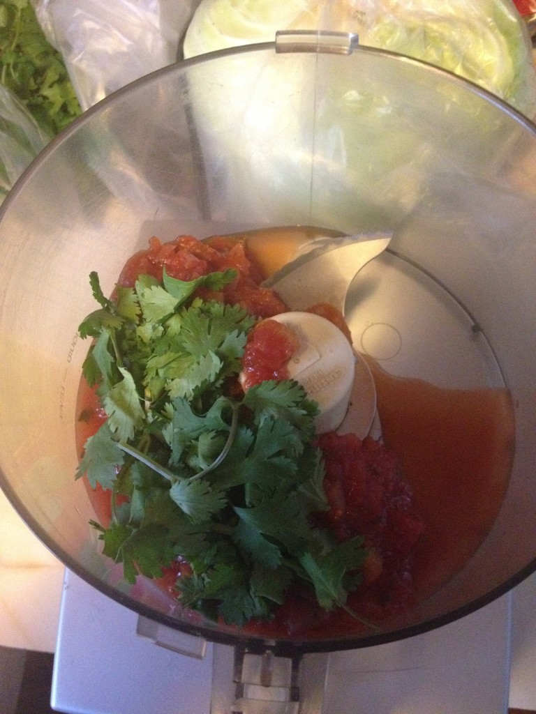 Blend salsa and cilantro together so that it's chopped fine and mixes well with the rice.