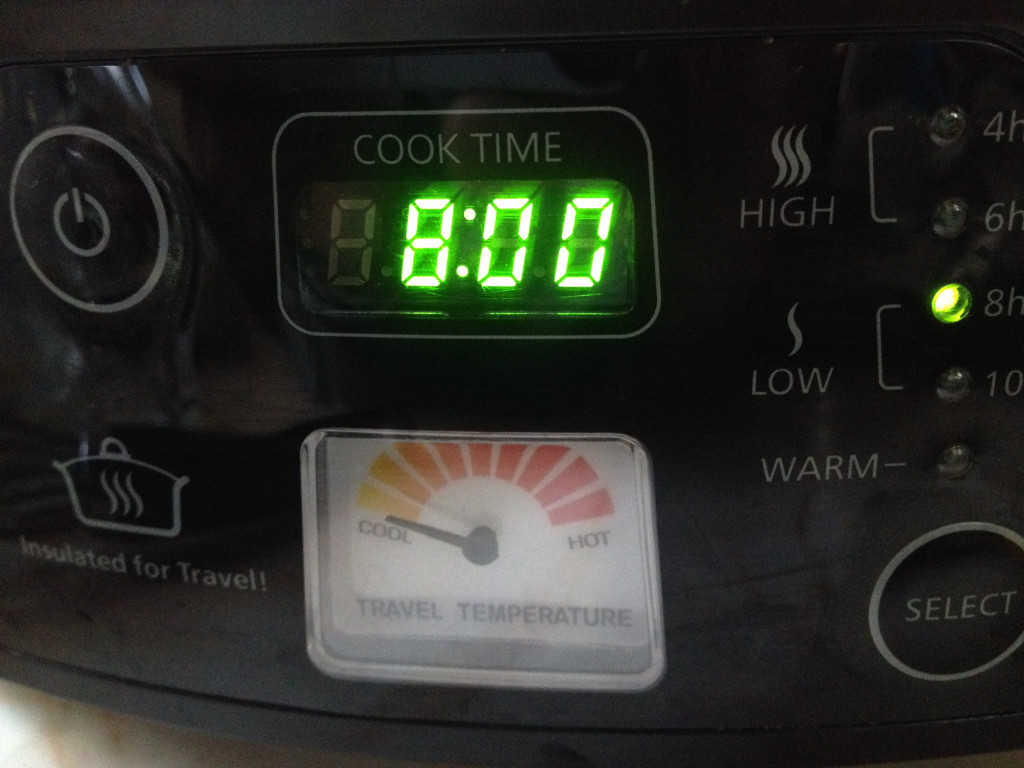 Program your slow cooker to cook on low for eight hours.