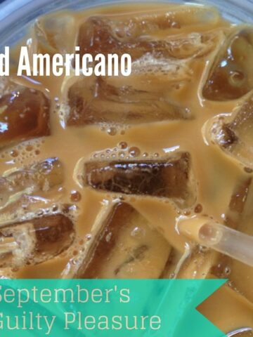 Guilty Pleasure: Iced Americano. I've got it bad my friend. Real bad. I've got a raging espresso addiction. Two shots of espresso over a cup packed with ice with just teaspoon or two of cream drizzled in to take the edge off the dark, smoky caffeine.