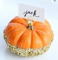 glittered pumpkin placecard