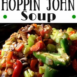 Black-eyed peas, a ham hock, broth, jalapeno, onion, garlic, celery, red bell pepper and diced tomatoes + spices simmer for a couple of hours in Crock-Pot or stove-top creating a delicious, easy, hoppin john soup.