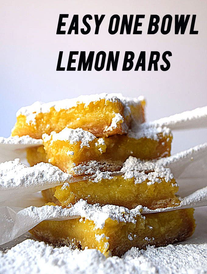 Lemon bars are so easy to make and you can do everything, crust and filling in one bowl. They are a must if you're having high tea or a birthday party.