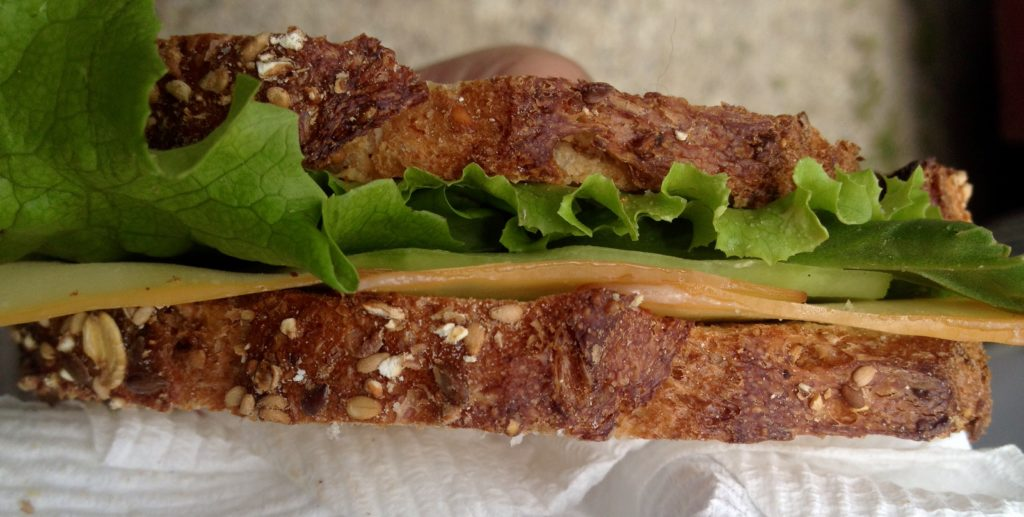 Never underestimate the power of fresh lettuce, cheese and Dijon mustard on whole grain bread.