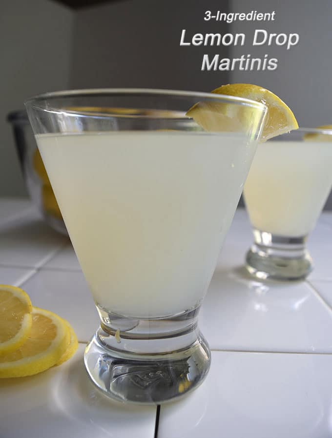 Lemon drop martinis , tart but sweet, take just three ingredients: lemon vodka, limoncello and lemonade..