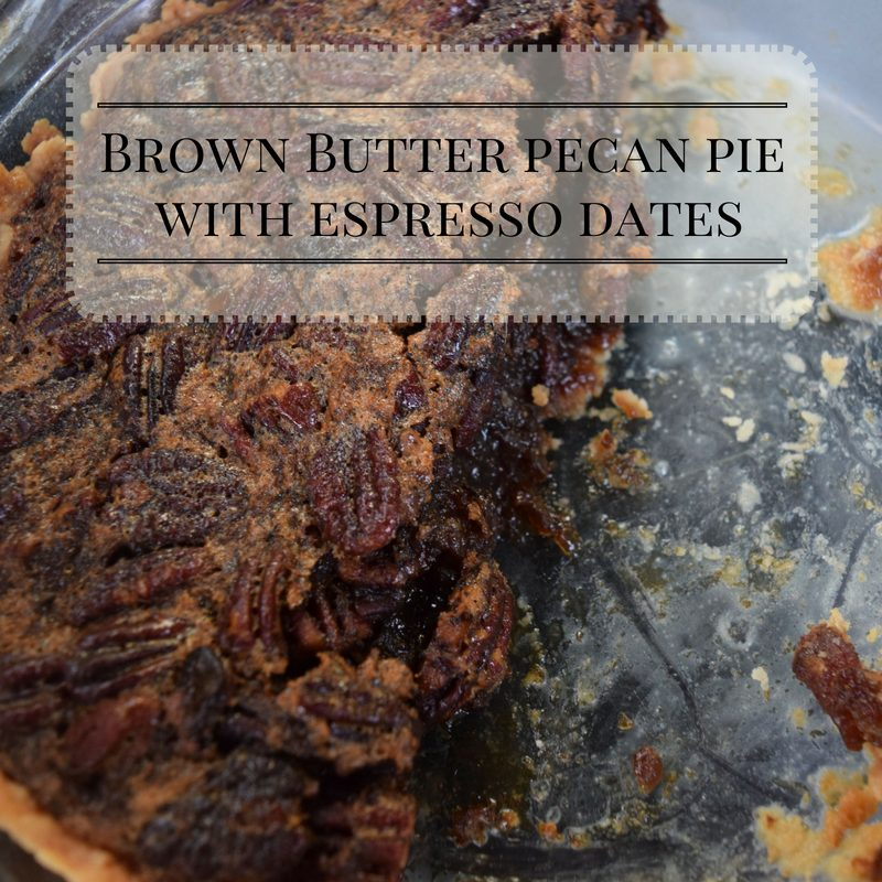 Brown butter pecan pie with espresso dates is as good as pecan pie but slightly richer and more sophisticated, like an older sister who's been living abroad. You will want this pie as your special Thanksgiving guest.