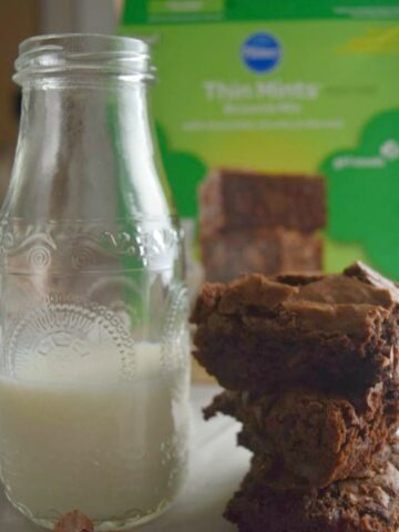 Thin Mints Brownie Mix will satisfy your fix for the mint chocolate Girl Scout cookies until your cookie order arrives. Find on grocery store baking aisles.