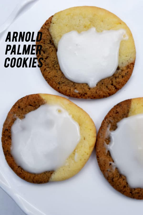 Arnold Palmer Cookies, a recipe in honor of the golfer who popularized the Arnold Palmer drink of half ice tea and half lemonade is made by creating two doughs and smushing them together.