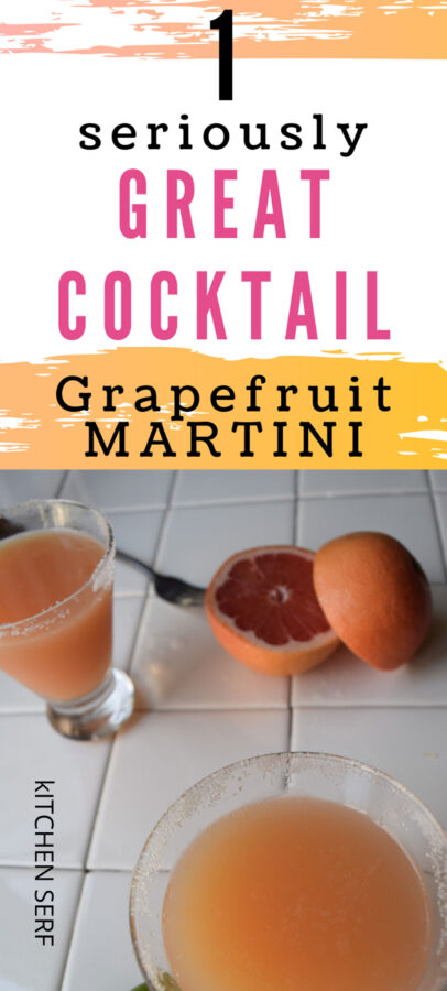 grapefruit martini on a white tile counter with sliced grapefruits
