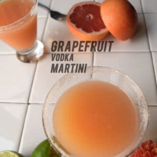 Grapefruit Vodka Martinis infuse your cocktail hour with freshness: grapefruit juice, lime juice and grapefruit vodka make a bracingly fresh drink packed with Vitamin C