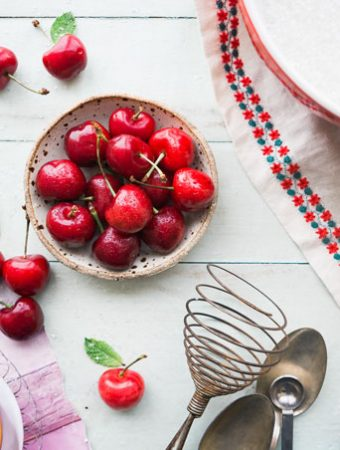 cherries in a bowl
