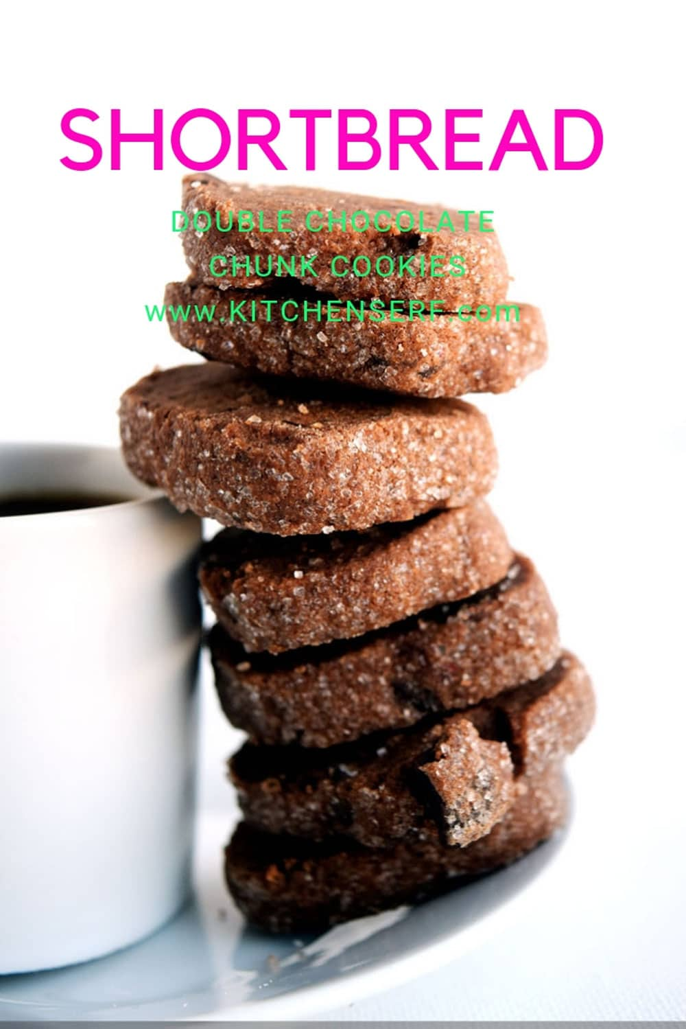 stack of chocolate cookies next to cup of espresso