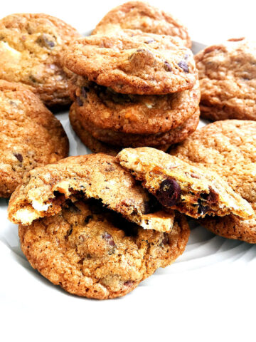 White chocolate, semi-sweet chocolate, butterscotch and toffee pack these easy, crunchy drop cookies.