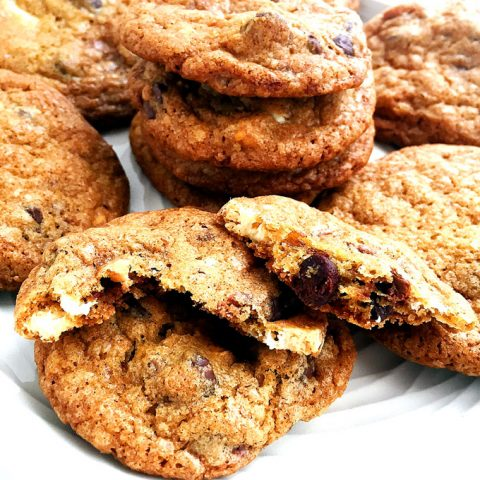 Double Chocolate Butterscotch Toffee Cookies