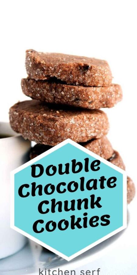 stack of double chocolate chunk cookies next to espresso cup