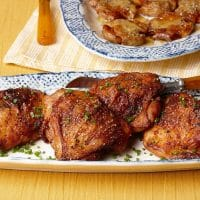 Crispy and Garlicky Chicken Thighs - Recipe - FineCooking