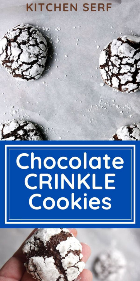 chocolate cookies decorated with white confectioners sugar spread apart on a blue background