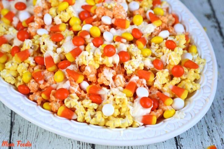 Candy Corn Popcorn Recipe: Colorful Fall Popcorn Snack Mix