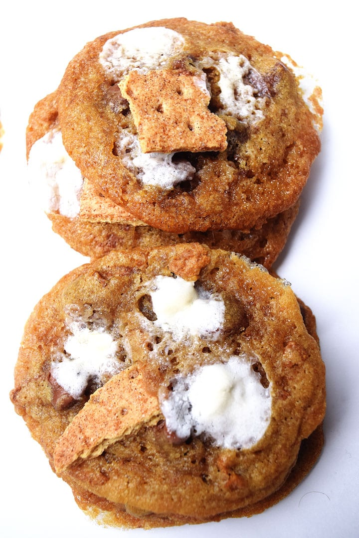 cookies with marshmallow melted on top and graham cracker
