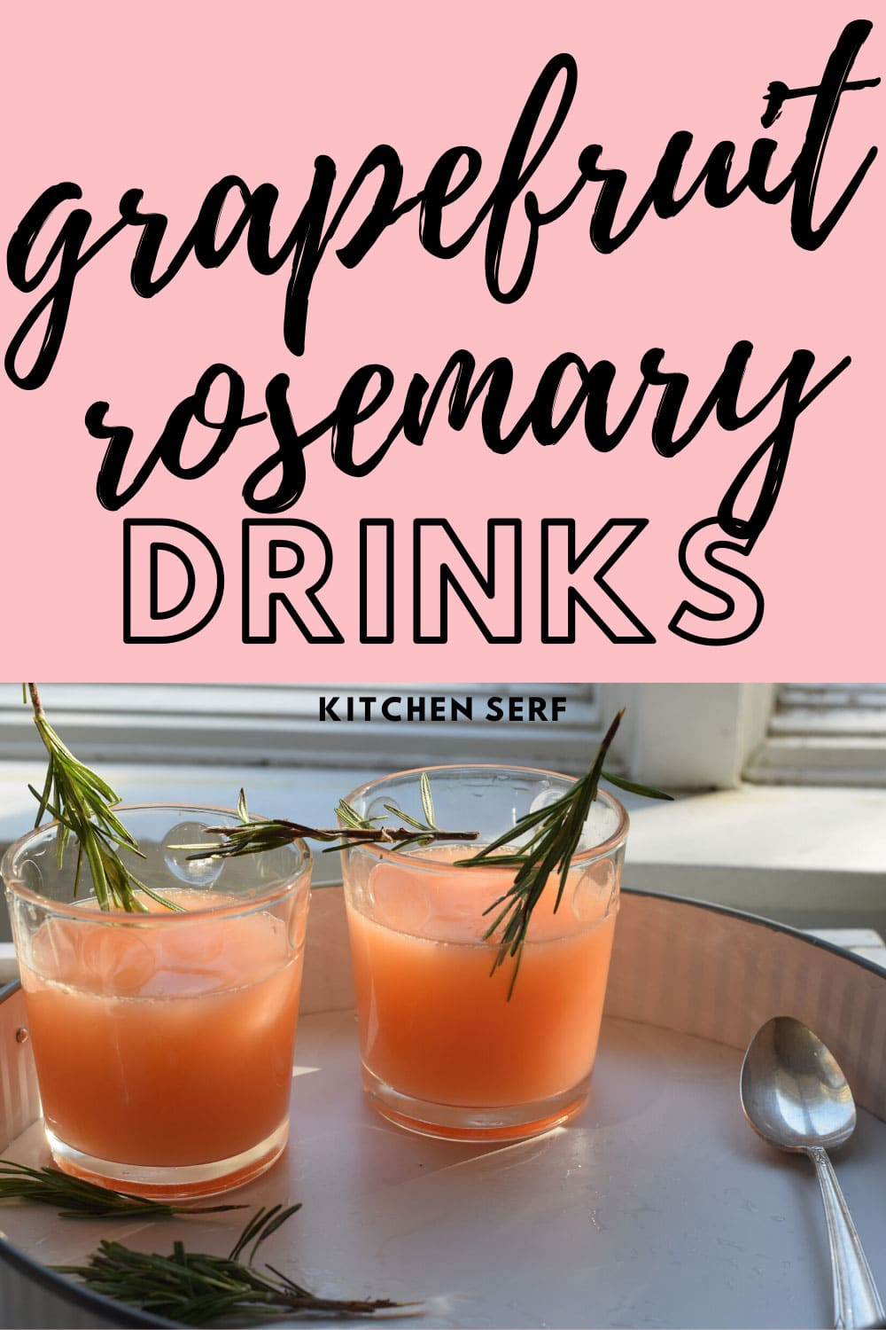 two glasses of grapefruit rosemary cocktails on a white platter with sprigs of rosemary
