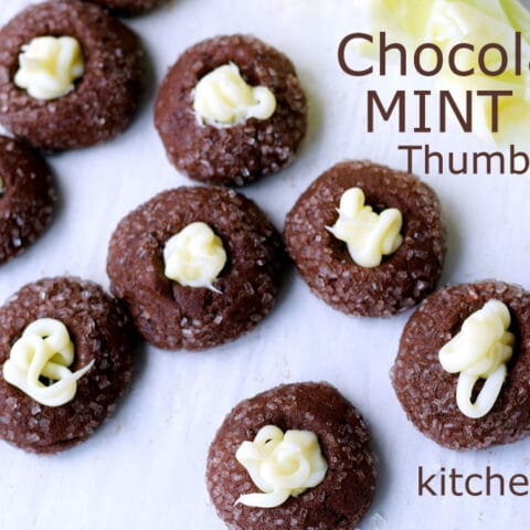 Rich Chocolate Mint Thumbprint Cookies