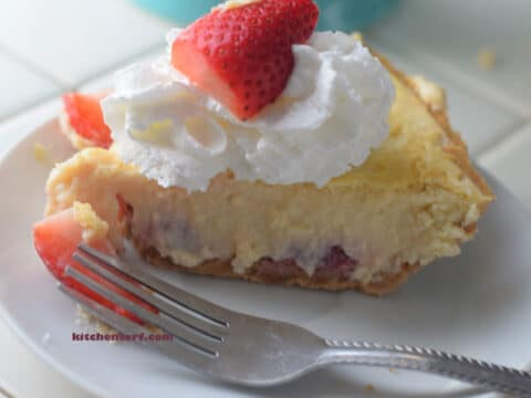 Simple Strawberry Cheesecake Pie is made with cream cheese, sweetened condensed milk and berries for a creamy, cheesecake.