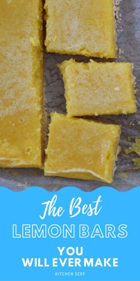 lemon bars cut into three squares with an edge of lemon bar on the left side